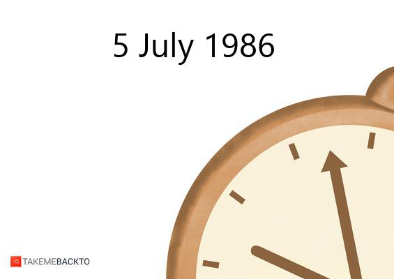 Saturday July 05, 1986