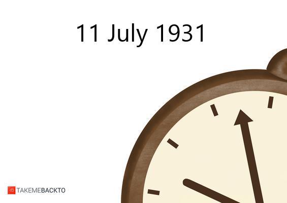 July 11, 1931 Saturday