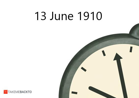 June 13, 1910 Monday