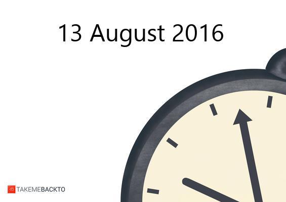 Saturday August 13, 2016