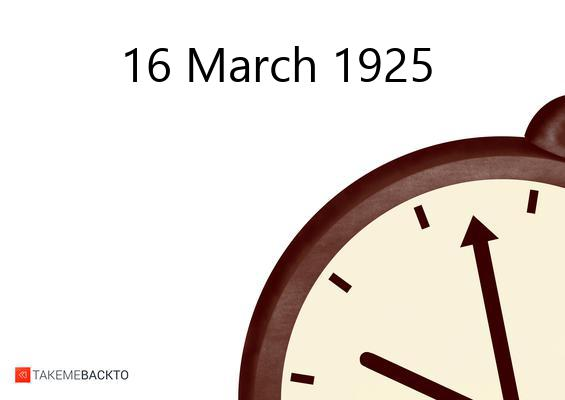 March 16, 1925 Monday