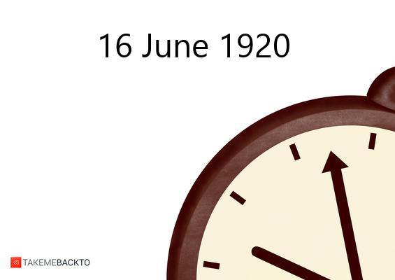 June 16, 1920 Wednesday
