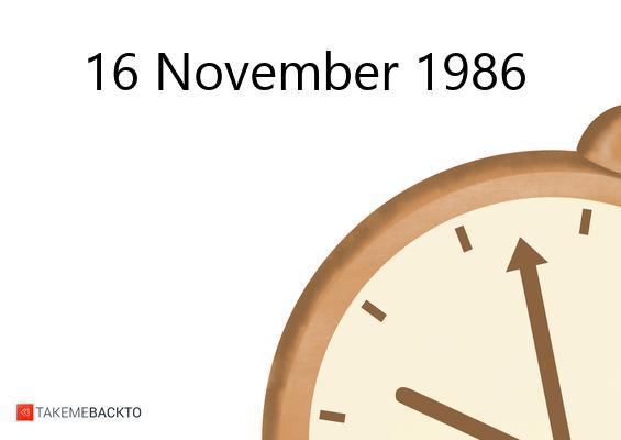 November 16, 1986 Sunday