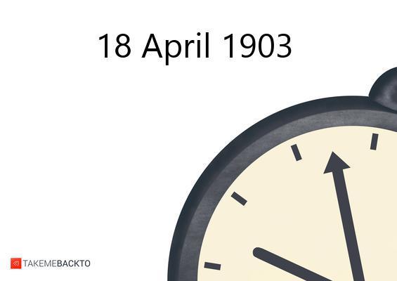 April 18, 1903 Saturday