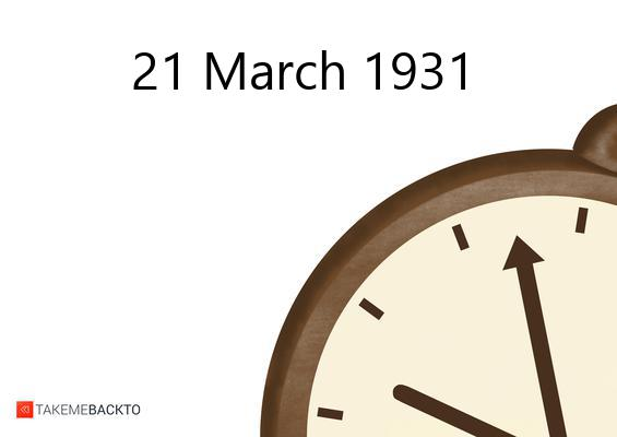 March 21, 1931 Saturday