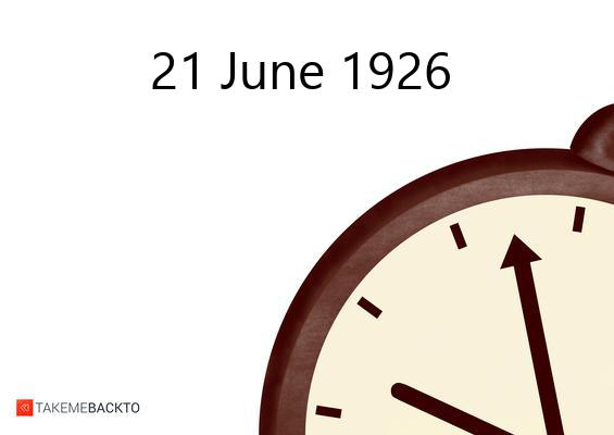 June 21, 1926 Monday