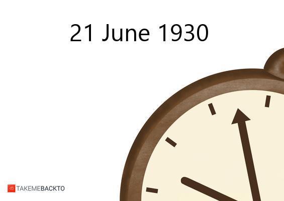 June 21, 1930 Saturday