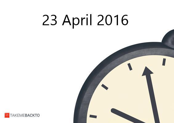 Saturday April 23, 2016