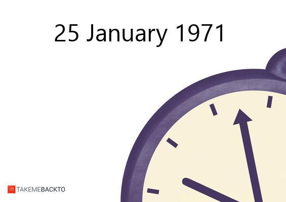January 25, 1971 Monday