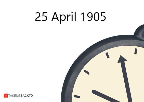 Tuesday April 25, 1905