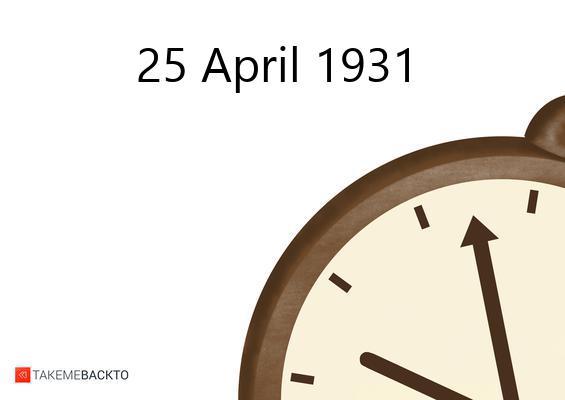 April 25, 1931 Saturday