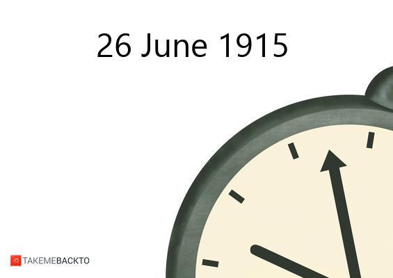 June 26, 1915 Saturday