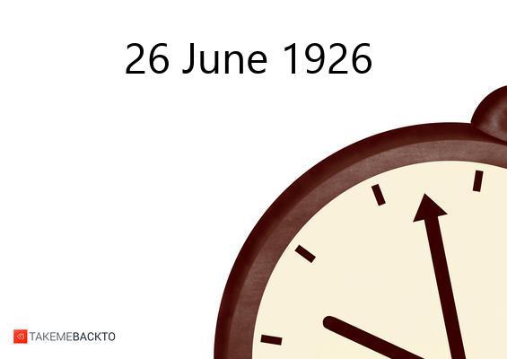 June 26, 1926 Saturday