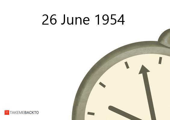 June 26, 1954 Saturday