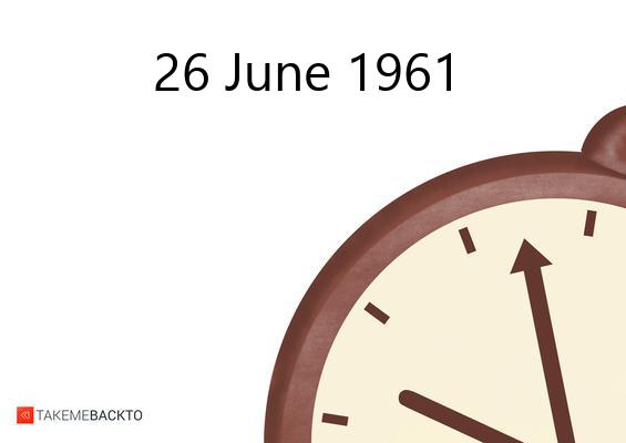 June 26, 1961 Monday