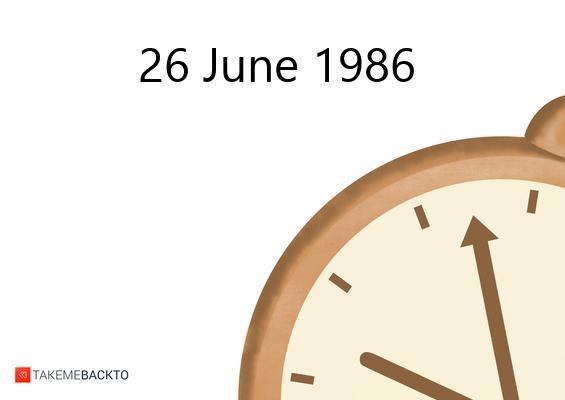 June 26, 1986 Thursday