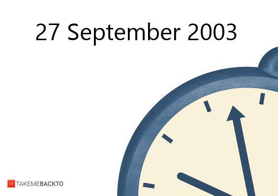 September 27, 2003 Saturday