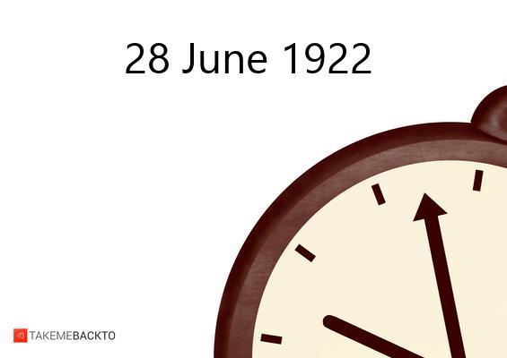 June 28, 1922 Wednesday