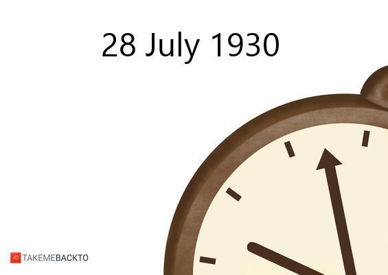 July 28, 1930 Monday