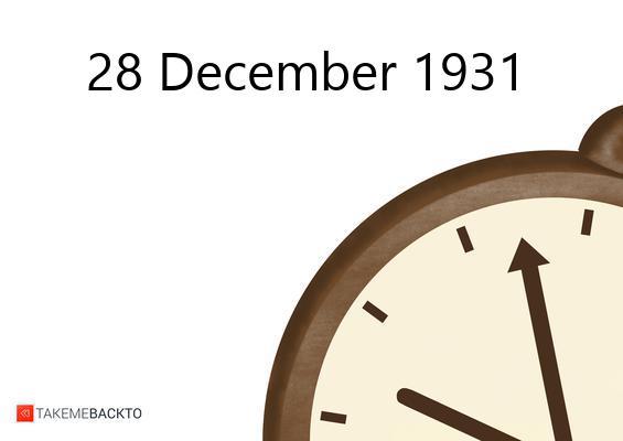 December 28, 1931 Monday