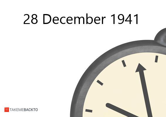 Sunday December 28, 1941