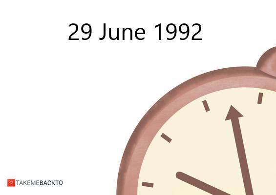 June 29, 1992 Monday