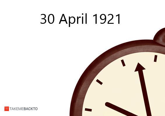 April 30, 1921 Saturday
