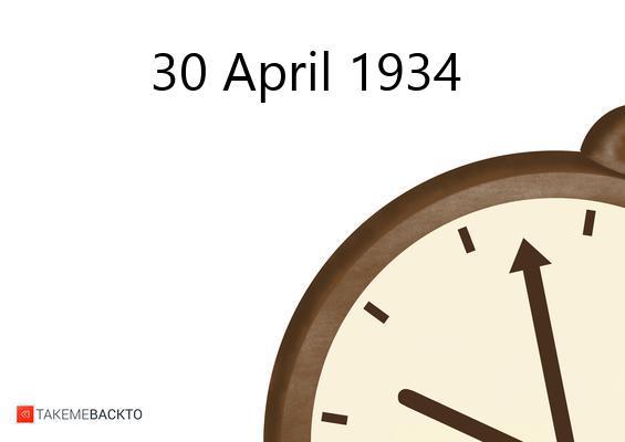 April 30, 1934 Monday