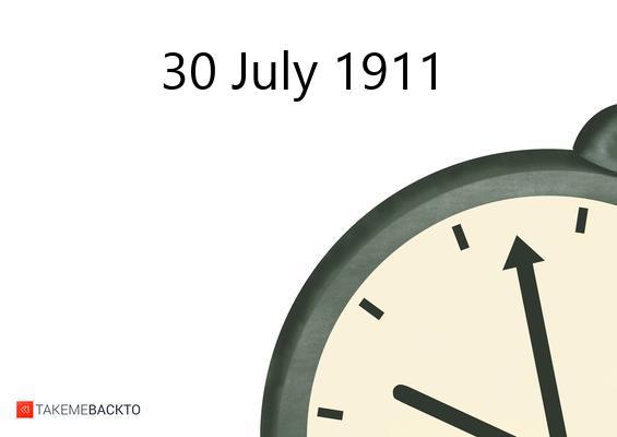 Sunday July 30, 1911