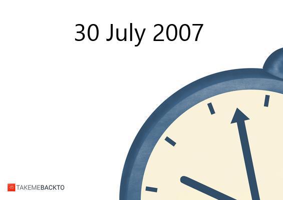 Monday July 30, 2007