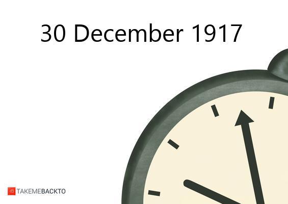 December 30, 1917 Sunday